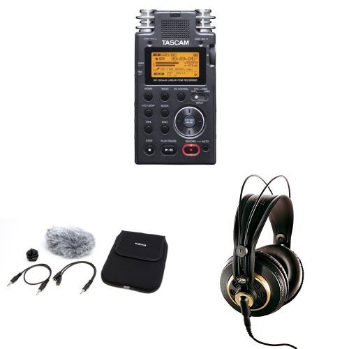 tascam-dr-100mkii-2-channel-portable-digital-recorder-with-tascam-accessories-and-akg-headphones