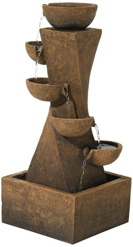 Cascading Bowls 27 1/2″ High Water Fountain with LED Light