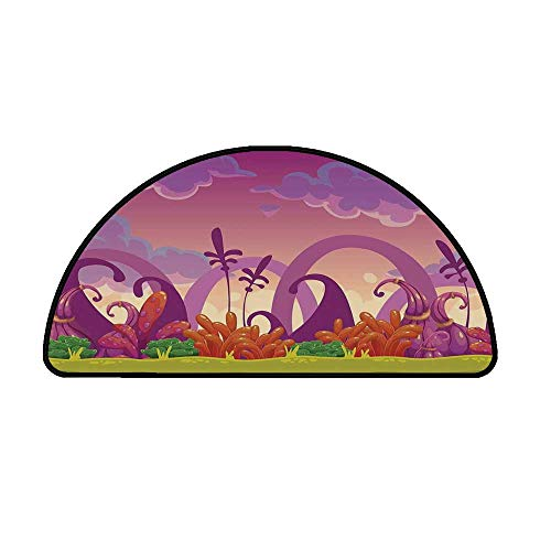 Playroom Decor Comfortable Semicircle Mat,Panoramic Fairytale Landscape Bushes Weeds Soil Magical Atmosphere for Living Room,17.7