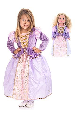 Matching Girls Costumes (Little Adventures Classic Rapunzel Princess Dress Up Costume & Matching Doll Dress (Medium (Age)