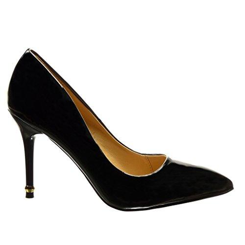 femme stiletto Escarpin Angkorly sexy Chaussure haut Talon Noir 9 Mode doré 5 CM verni aiguille qHxxXt