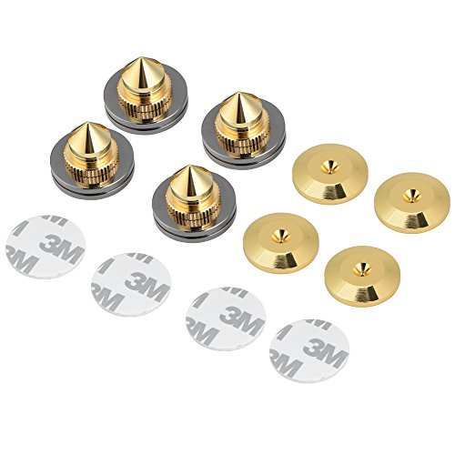 fosa 4 Pcs 28x25mm gold-plated copper Speaker Isolation Spikes Stand Feet Replacement HiFi Speaker AMP CD Cone Base Pads by fosa