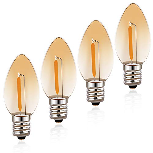 Night Light Bulbs, Emotionlite Amber C7 LED Bulb, 7W Equivalent, E12 Candelabra Base, Incandescent Lamp Replacement, 0.7 Watt, 2200K, 4Pack