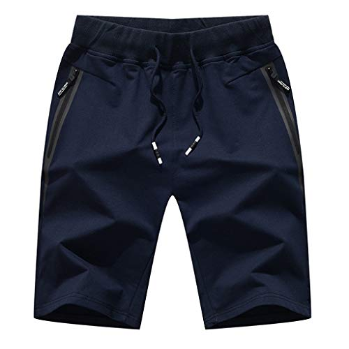 (Seaintheson Men's Jogger Shorts,Summer Breathable Sweatpants Casual Workout Running Hiking Pants Beach Surfing Swim Trunks Dark Blue)