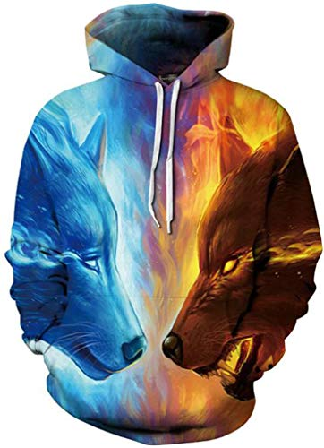 Multi Color Pullover - Sportides Unisex Boy Girl Realistic 3D Digital Print Pullover Hoodie Hooded Fleece Sweatshirt LYM009_Multicolor_L/XL