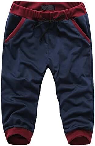 Marolaya Men's Youth Casual Jogger Sports Capri Shorts Cropped Pants
