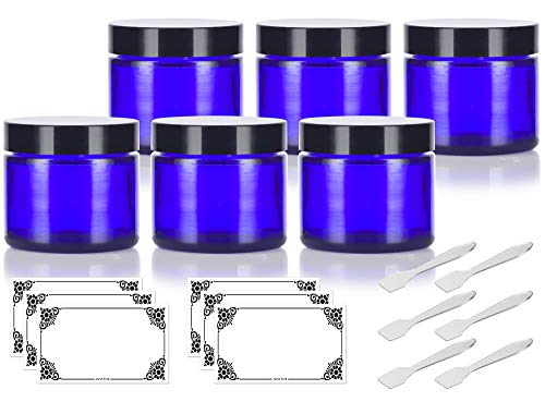 Cobalt Blue Glass Straight Sided Jar - 2 oz / 60 ml (6 pack) + Spatulas and Labels - Airtight, Smell Proof, BPA Free