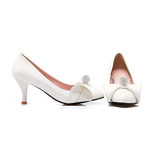 MissSaSa Damen high heel Pointed Toe Low cut Schleife Pumps mit Strass Weiß