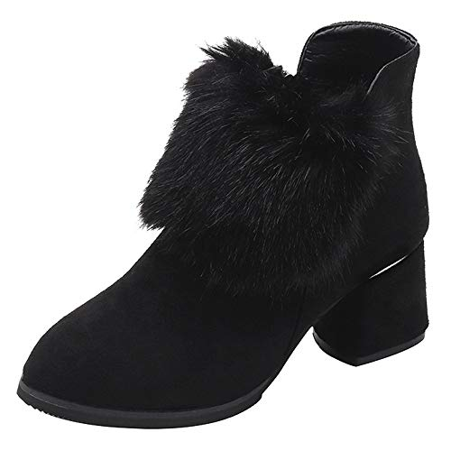 Duseedik Women Suede Booties, Round Toe Ankle Bootie High Heel Shoes Hairy Solid Color Basel Boot Boots Zipper for $<!--$18.98-->
