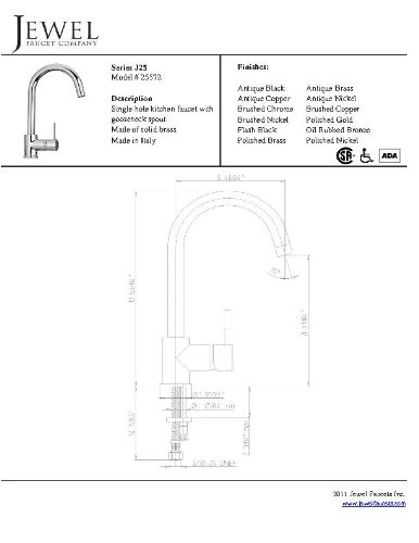 jewel faucets 25572 single hole kitchen faucet with goose neck spout in chrome  jewel faucets 25572 single hole kitchen