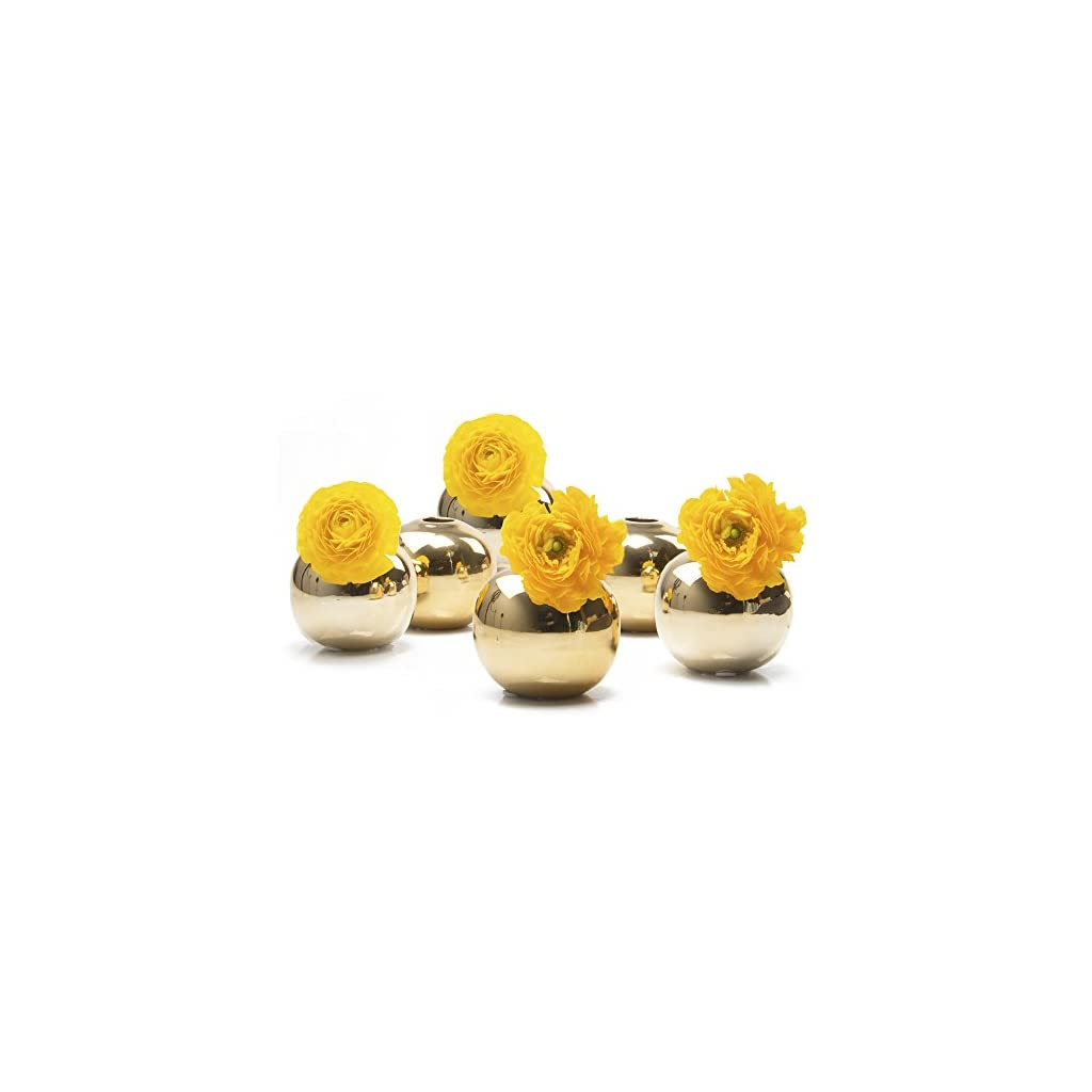 Chive – Set of 6 JoJo Small 3″ Sphere, Round Ceramic Flower Vase, Decorative Modern Floral Vase for Home Decor Living Room Centerpieces and Events, Cute Bud Vase (Gold)