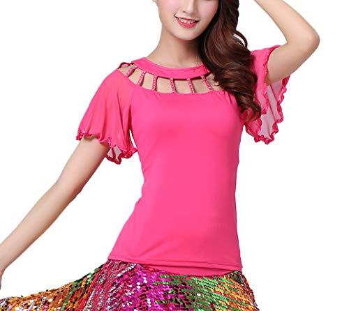 Ballroom Waltz Foxtrot Latin Flamenco Party Square Dancing Shirts Tops Costumes Rose]()