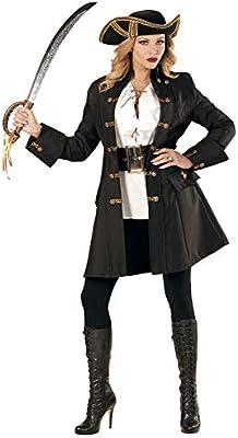shoperama Abrigo Negro para Mujer con Botones Dorados para Pirata ...