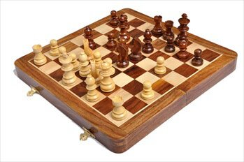 """The House of Staunton's FOLDING WOODEN MAGNETIC Travel Chess Set - 12"""""""