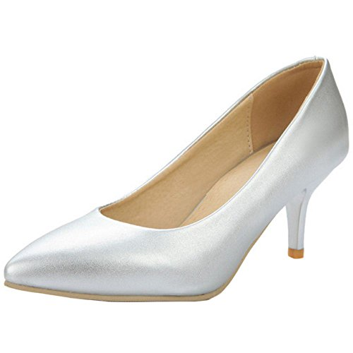 COOLCEPT Women's Fashion Slip on Court Shoes Silver