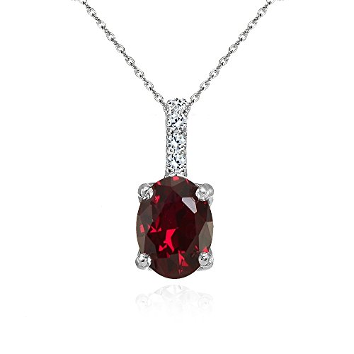 Sterling Silver Created Ruby and White Topaz Oval Crown Necklace