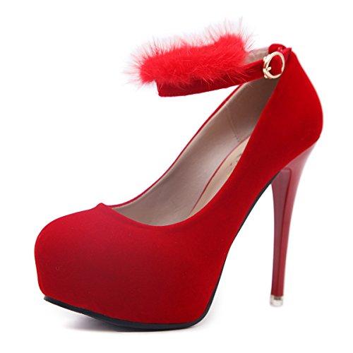 ZHZNVX La nueva primavera y verano zapatos de tacón alto botas impermeables hembra Taiwán bien con la luz de 12cm sandalias femenino red