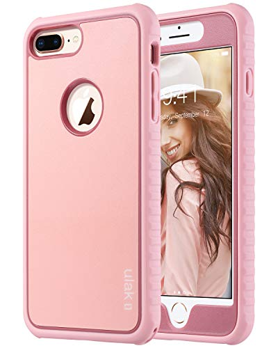 ULAK iPhone 8 Plus Case, Slim Shockproof Flexible TPU Bumper Case Durable Anti-Slip Lightweight Front and Back Hard Protective Cover for iPhone 8 Plus 5.5 inch, Rose ()