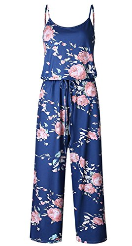 NEWCOSPLAY Women's Sexy Casual Sleeveless Jumpsuit Stretch Wide Long Pants Jumpsuit Rompers (XXXL, Blue) ()