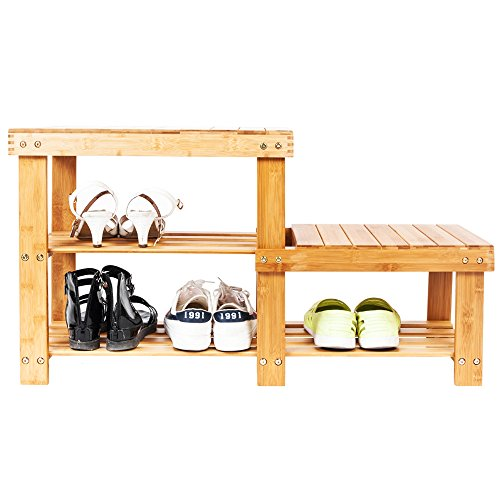 Bonnlo 100% Natural Bamboo Shoe Bench 2-Tier Shoe Rack Organizer Entryway Storage Shelf 34.3 x 11 x 17.9 Inches L x W x H for Closet Bathroom Bedroom Balcony (Narrow Plant Stand)