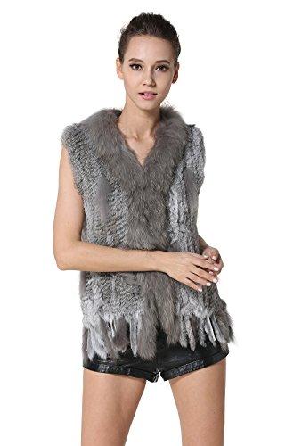 Di Colletto Naturale Pelliccia Grigio Meefur Con Reale Donne Del Coniglio Pellicce Raccoon Delle qw5HCX