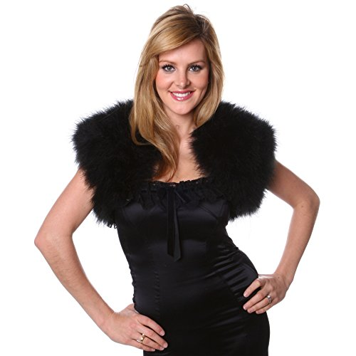 Marabou Feather Shrug - Black 11