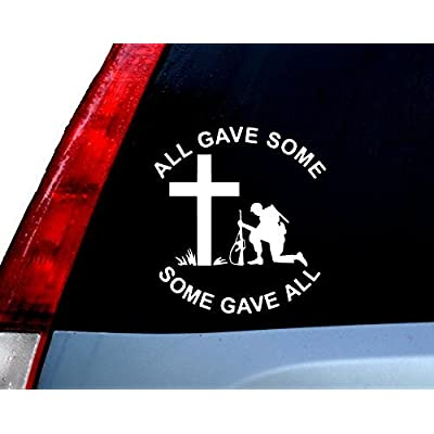 CCI All Gave Some Some Gave All Soldier Kneeling Army Respect Decal Vinyl Sticker|Cars Trucks Vans Walls Laptop| White |5.5 x 5 in|CCI737: Automotive