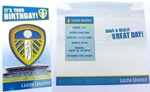 Leeds United Crest cumpleaños con texto en inglés UK