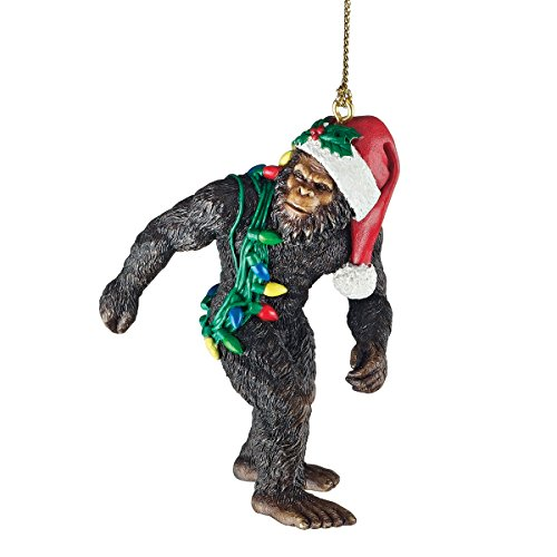 Design Toscano Bigfoot the Holiday Yeti with Santa Hat Funny Christmas Tree Ornament, 3 Inch, Polyresin, Full Color Gothic Ornament