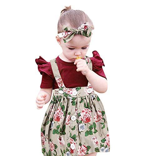 (Mysky Toddler Baby Kids Girls Summer Popular Floral Print Overalls Skirt+Bowknot Headband+Pure Romper Outfits Set Beige)