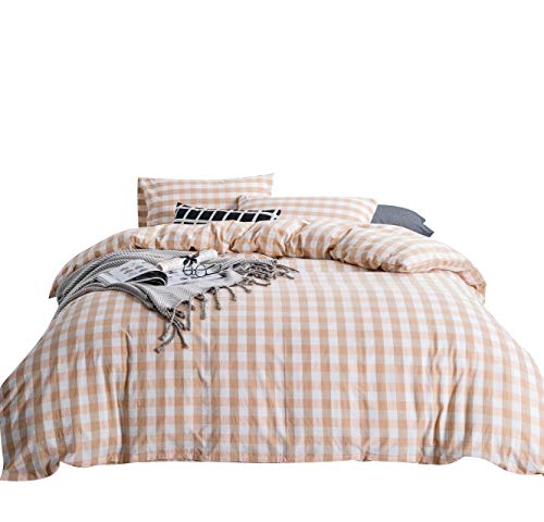 SUSYBAO 3 Pieces Checkered Duvet Cover Set 100% Washed Cotton King Size Pink and White Gingham Bedding Set with Zipper Ties 1 Buffalo Plaid Duvet Cover 2 Pillowcases Luxury Quality Soft Comfortable
