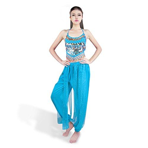 mousseline Belly Haut Lake des Chest Lady et indienne de Banadge Hanging courts Avec Femmes Bells danse pantalons Blue Monnaies SymbolLife Pad d8qYwd