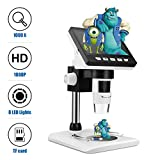 LCD Digital Microscope, TSAAGAN 4.3 inch Full Color LCD Digital USB Microscope Camera with 1080P HD 2MP 50x to 1000x Magnification Endoscope with 8 LED Adjustable Light for Kids, Students Gifts