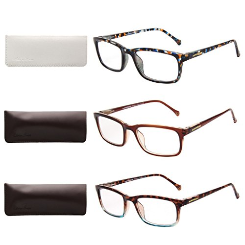 LianSan Designer 3 Pack Spring Hinge Small Face Mens Rectangular Reading Glasses Fashion Style Womens Readers with Case L3708, BU-GN-TPGN, +1.50 - Faces For Readers Small