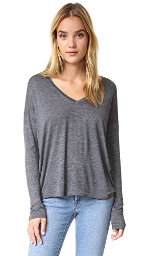 Vince Women's Drop Sleeve Deep Vee, Heather Charcoal, - Charcoal Deep Heather