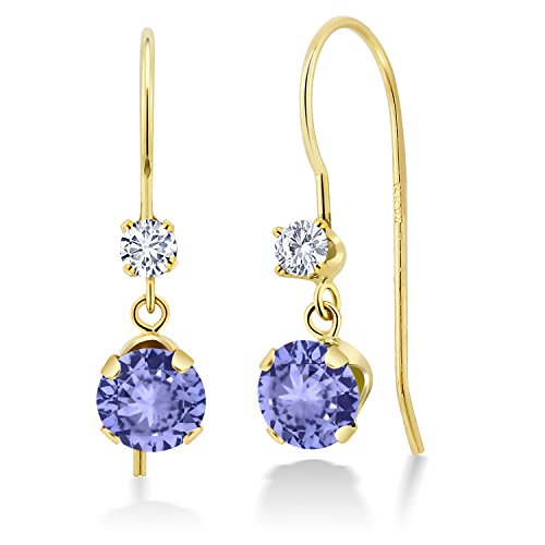 Tanzanite Chip - 14K Yellow Gold Dangle Earrings Round Blue Tanzanite and Forever Classic Created Moissanite 0.12ct (DEW) by Charles & Colvard