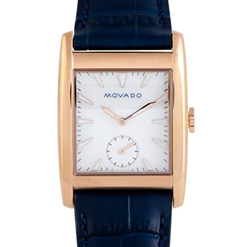 Movado Women's Heritage Stainless Steel Swiss-Quartz Watch with Leather-Crocodile Strap, Blue, 27.4 (Model: 3650052