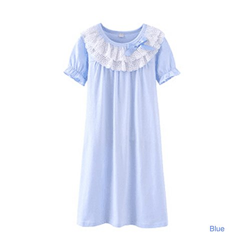 DGAGA Little Girls Princess Nightgown Cotton Lace Bowknot Sleepwear Nightdress Blue 9-10 Years /150cm