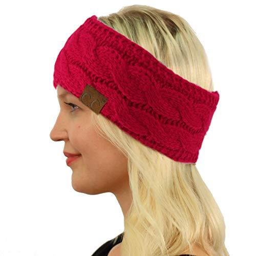 Winter Fuzzy Fleece Lined Thick Knitted Headband Headwrap Earwarmer Solid Hot Pink