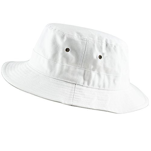 100% Cotton Canvas Packable Summer Travel Bucket Hat (S/M, White) -