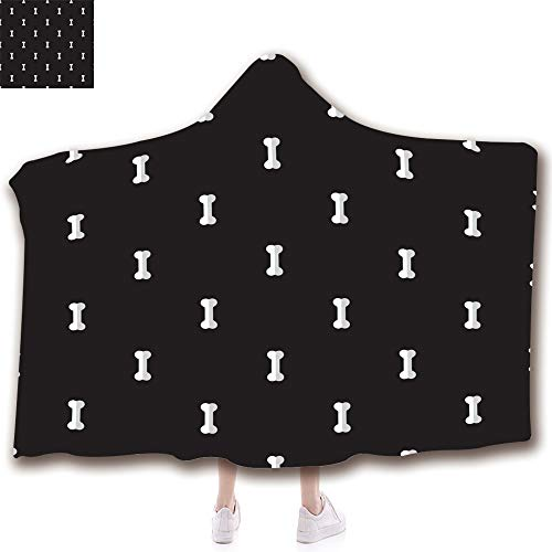 Wearable Hooded Throw Blanket Soft Plush Blanket,3D Printed Pattern in Holiday Winter Suit for Adults (79
