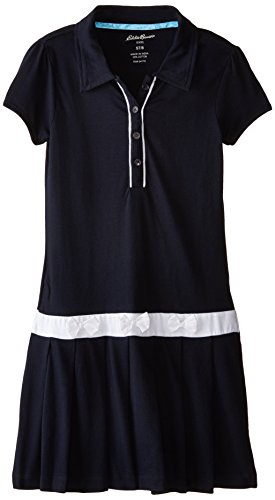 (Eddie Bauer Girls' Dress Or Jumper (More Styles Available), Navy with White, 10/12)