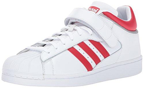 adidas Originals Men's Pro Shell Sneaker, White/Scarlet/Metallic Silver, 12 Medium US (Grip Shell Medium)