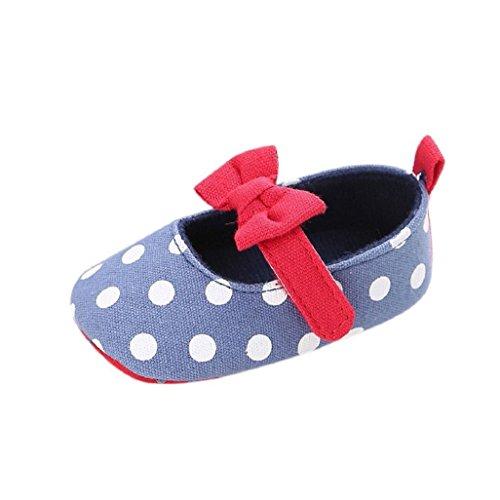 Bebé Prewalker Zapatos Auxma Zapatos de lona del arco-nudo de la niña,Zapatillas antideslizantes suaves zapatos para niños pequeños Para 0-18 mes Azul