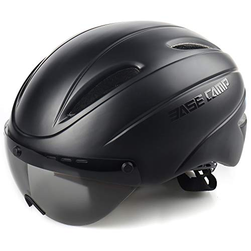 BASE CAMP Cycling Bike Helmet with Removable Shield Visor - Medium Size 21.75-23.5 Inches (Matte Black)