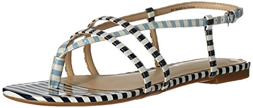 Nine West Women's Shmoopy Synthetic Dress Sandal, White/Navy/White/Light Blue, 8.5 M US (Nine West Flat Sandals Women)