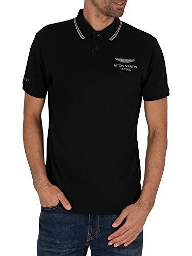 Hackett London Men's AMR Fine Tip Polo Shirt, Black