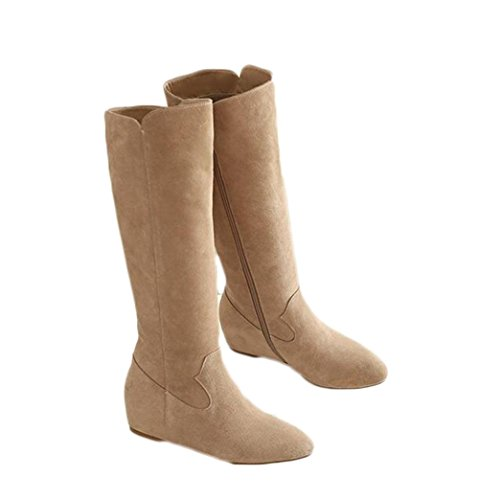 L'Autunno E L'Inverno Vera Pelle Tubo Lungo Tacco Basso Piatto Aumento Boots Lungo Femminile ,cachi,34