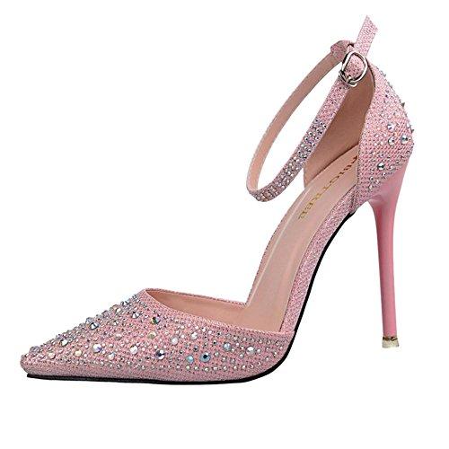 COOLCEPT Damen Mode Riemchen Pumps Sandalen Pink