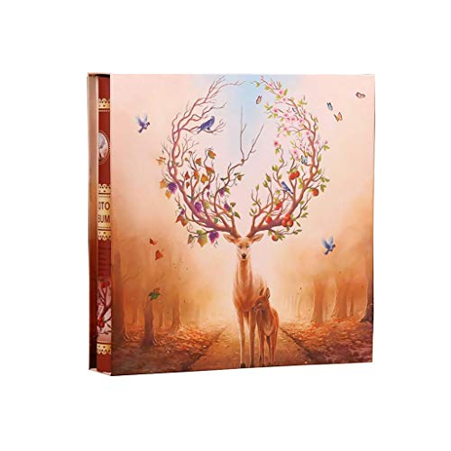 HongTeng Photo Album 5/6/7/8 Inch Insert Type 1198 Sheets Large Capacity Family Baby Couple Romantic Album, Birthday Gift, Elk 37x37x6cm